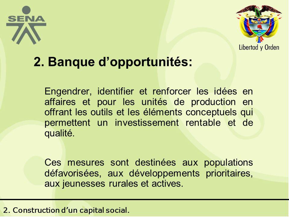 2. Banque dopportunités: Engendrer, identifier et renforcer les idées en affaires et pour les unités de production en offrant les outils et les élémen