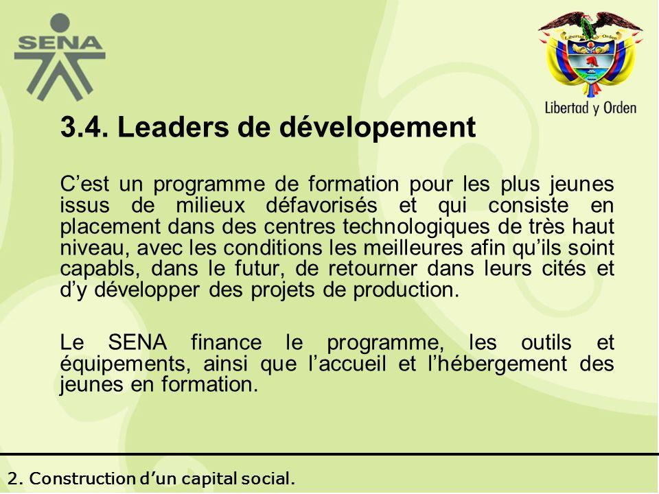 3.4. Leaders de dévelopement Cest un programme de formation pour les plus jeunes issus de milieux défavorisés et qui consiste en placement dans des ce