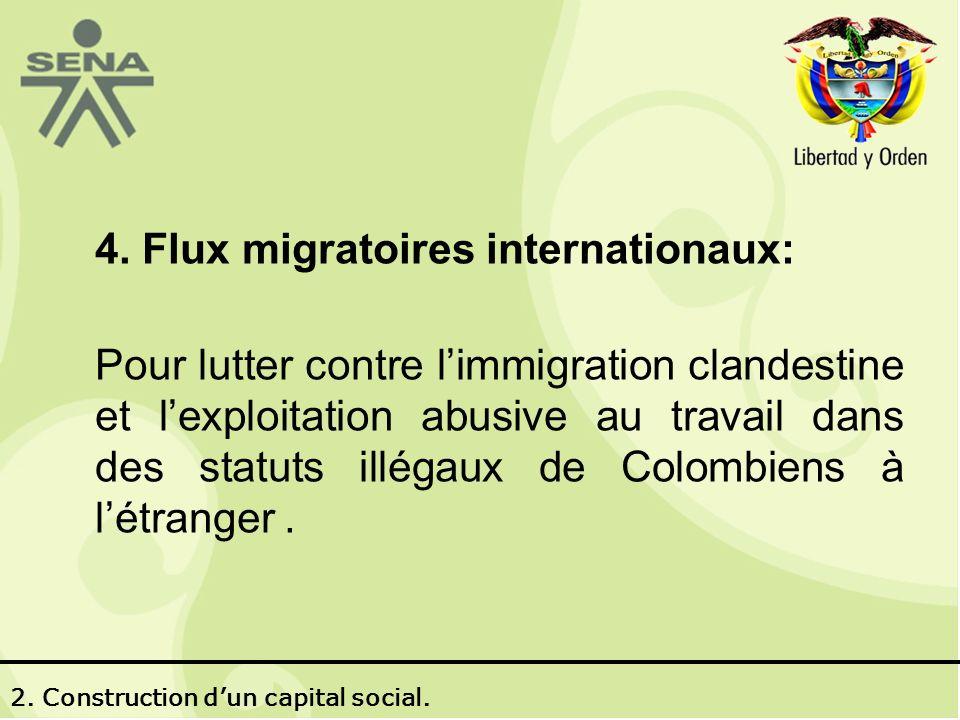 4. Flux migratoires internationaux: Pour lutter contre limmigration clandestine et lexploitation abusive au travail dans des statuts illégaux de Colom