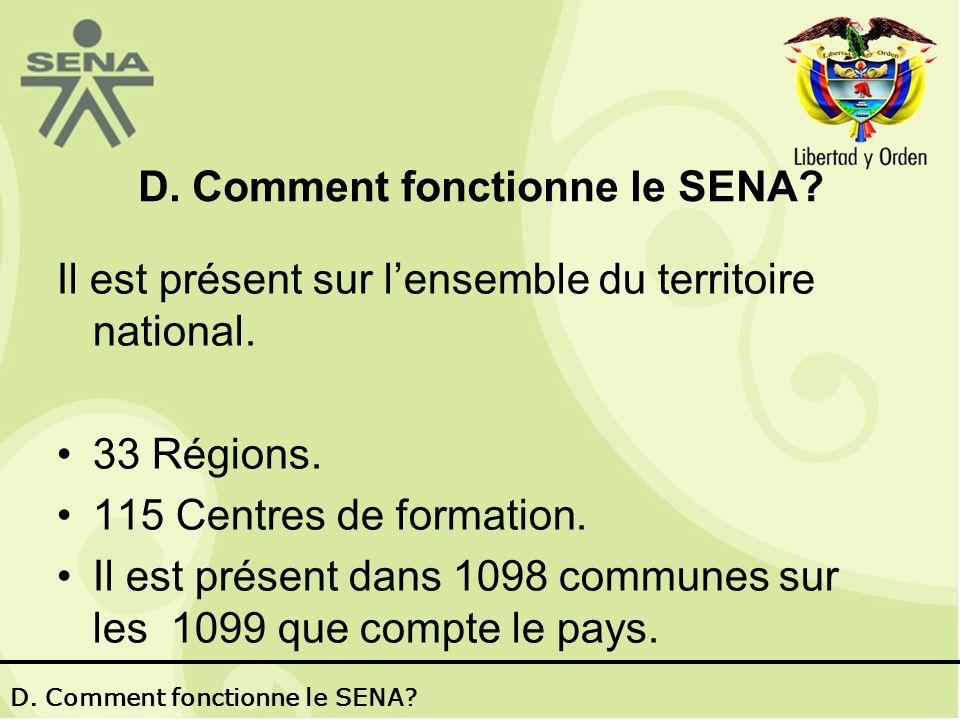 D. Comment fonctionne le SENA. Il est présent sur lensemble du territoire national.