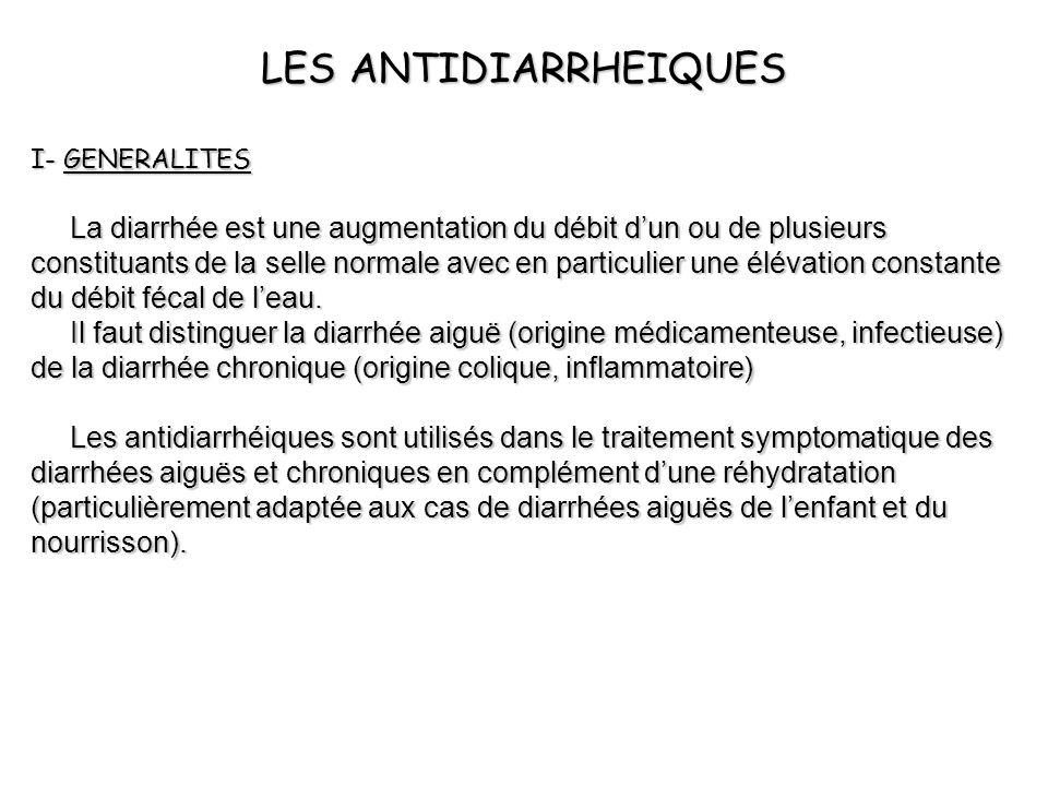 LES ANTIDIARRHEIQUES I- GENERALITES La diarrhée est une augmentation du débit dun ou de plusieurs constituants de la selle normale avec en particulier