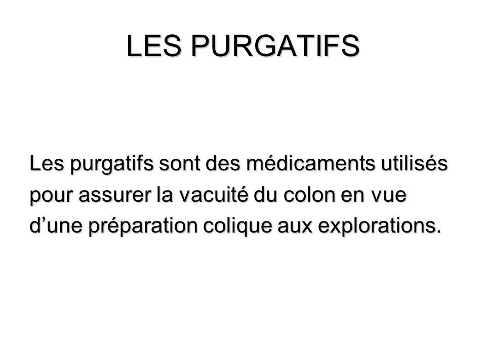 LES PURGATIFS Les purgatifs sont des médicaments utilisés pour assurer la vacuité du colon en vue dune préparation colique aux explorations.