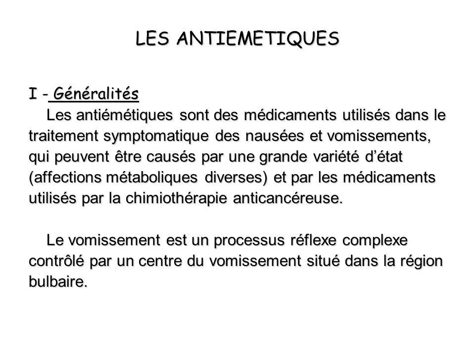 LES ANTIEMETIQUES I - Généralités Les antiémétiques sont des médicaments utilisés dans le traitement symptomatique des nausées et vomissements, qui pe