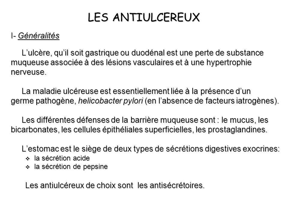 LES ANTIULCEREUX I- Généralités Lulcère, quil soit gastrique ou duodénal est une perte de substance muqueuse associée à des lésions vasculaires et à u