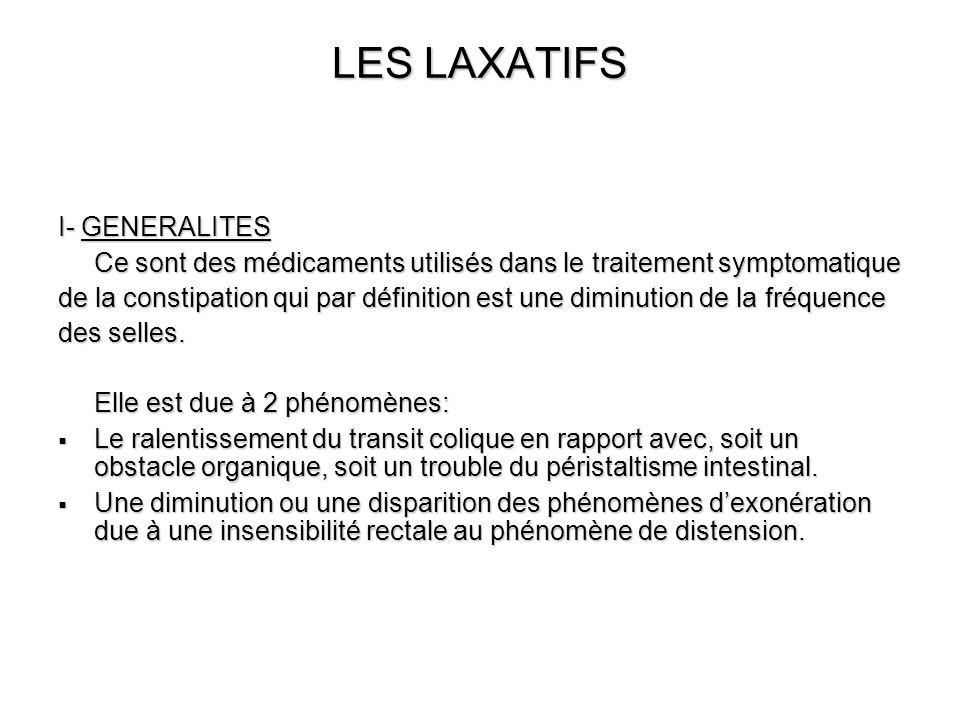 LES LAXATIFS II- CLASSIFICATION DES LAXATIFS 5 classes: 1- Les laxatifs de lest : substances qui augmentent de volume en présence deau et modifient le volume et la consistance des selles.