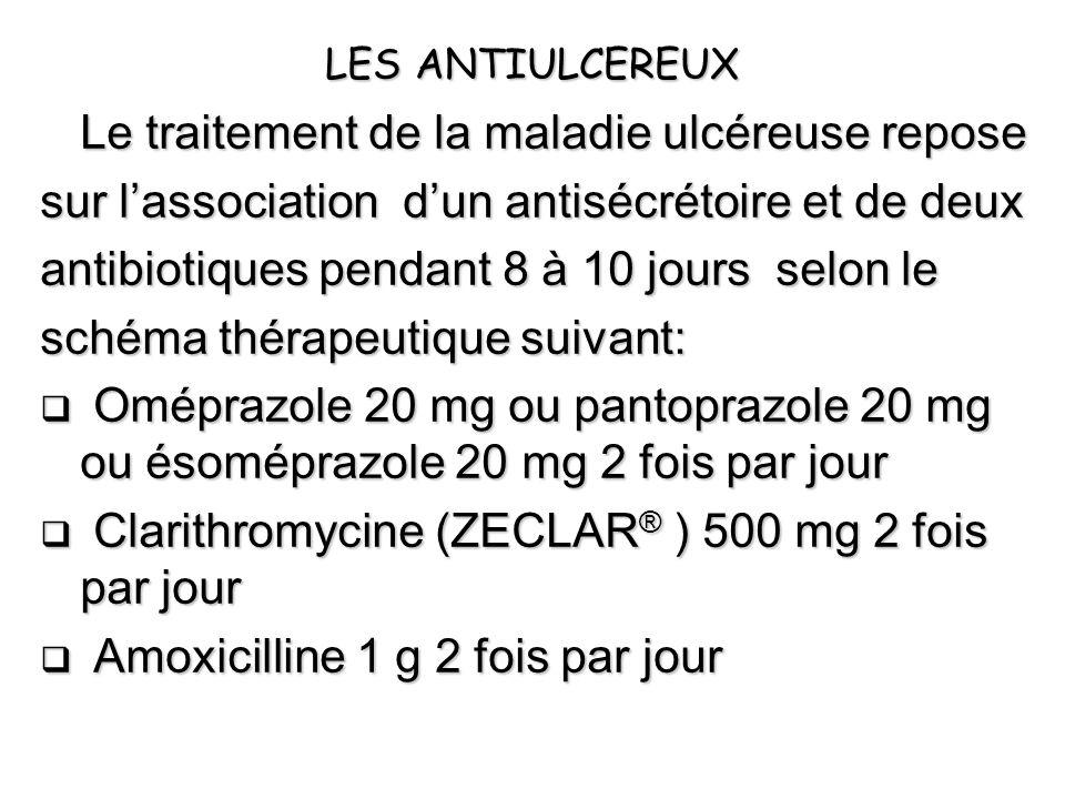 LES ANTIULCEREUX Le traitement de la maladie ulcéreuse repose sur lassociation dun antisécrétoire et de deux antibiotiques pendant 8 à 10 jours selon