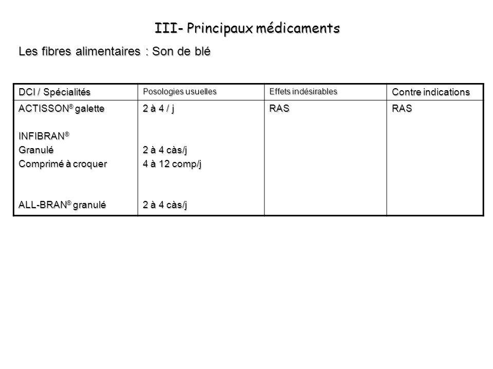 III- Principaux médicaments Les fibres alimentaires : Son de blé DCI / Spécialités Posologies usuelles Effets indésirables Contre indications ACTISSON
