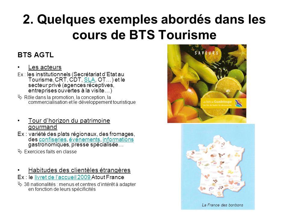 2. Quelques exemples abordés dans les cours de BTS Tourisme BTS AGTL Les acteurs Ex : les institutionnels (Secrétariat dEtat au Tourisme, CRT, CDT, SL