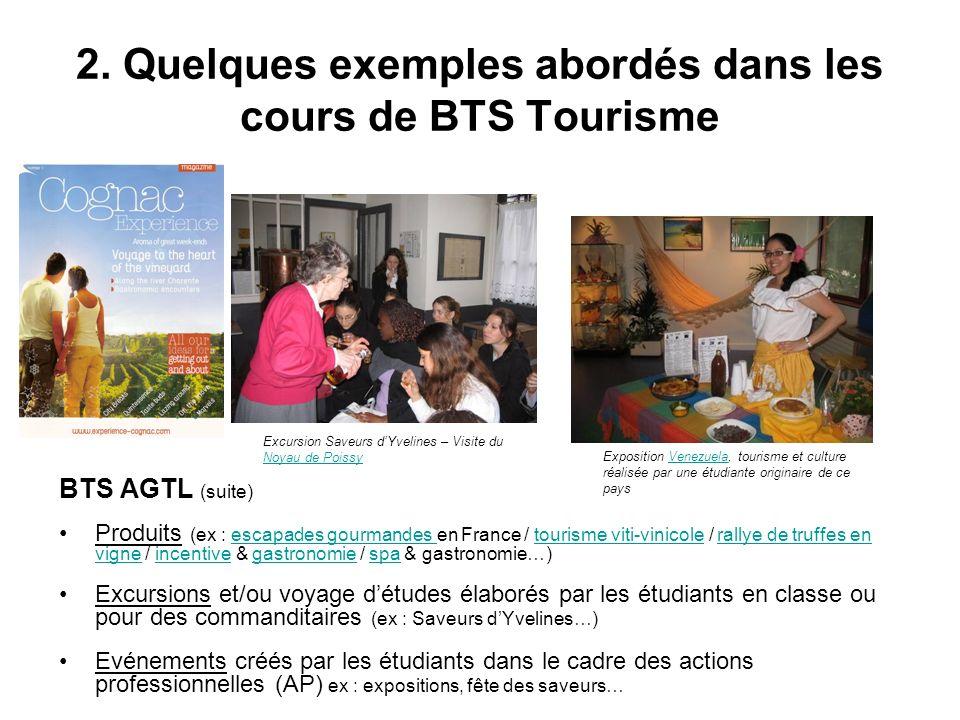 2. Quelques exemples abordés dans les cours de BTS Tourisme BTS AGTL (suite) Produits (ex : escapades gourmandes en France / tourisme viti-vinicole /
