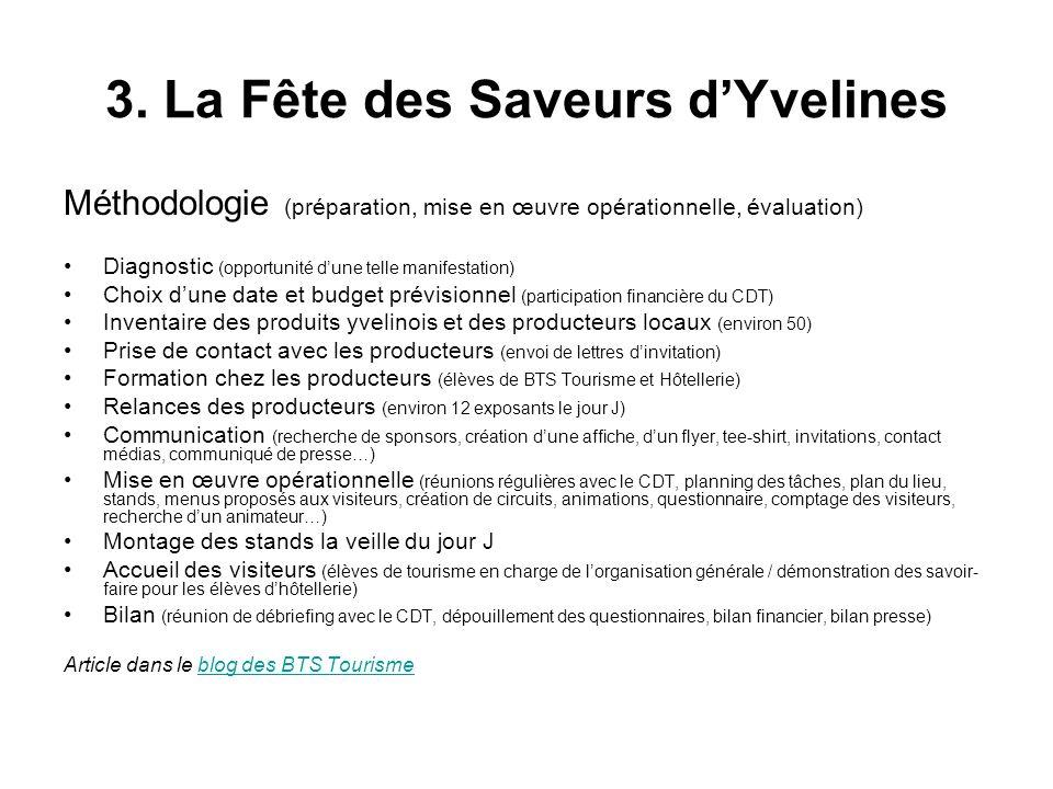 3. La Fête des Saveurs dYvelines Méthodologie (préparation, mise en œuvre opérationnelle, évaluation) Diagnostic (opportunité dune telle manifestation