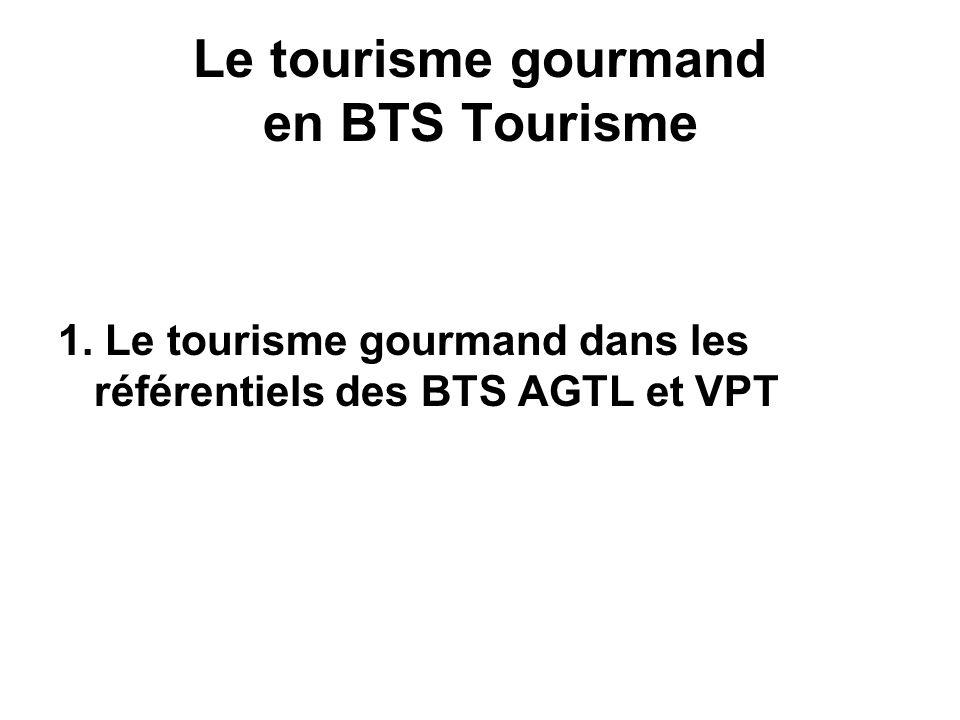 Conclusion La connaissance du patrimoine gourmand, des produits touristiques et des logiques de développement touristique liées au tourisme gourmand sont des éléments incontournables dans les BTS Tourisme.