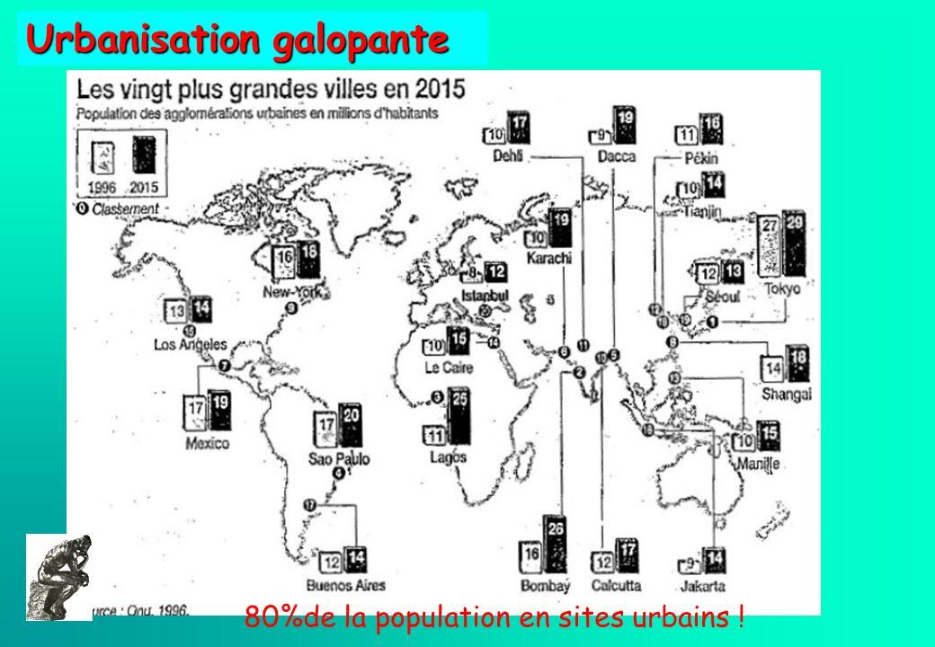 80%de la population en sites urbains ! Urbanisation galopante