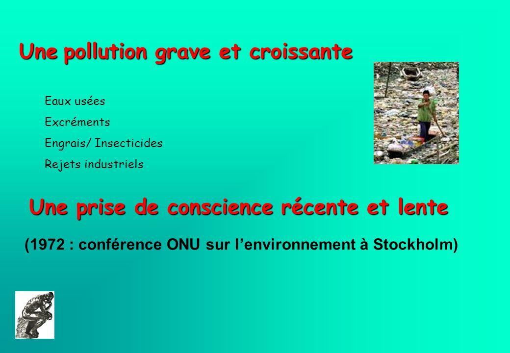 Une pollution grave et croissante Une prise de conscience récente et lente (1972 : conférence ONU sur lenvironnement à Stockholm) Eaux usées Excrément