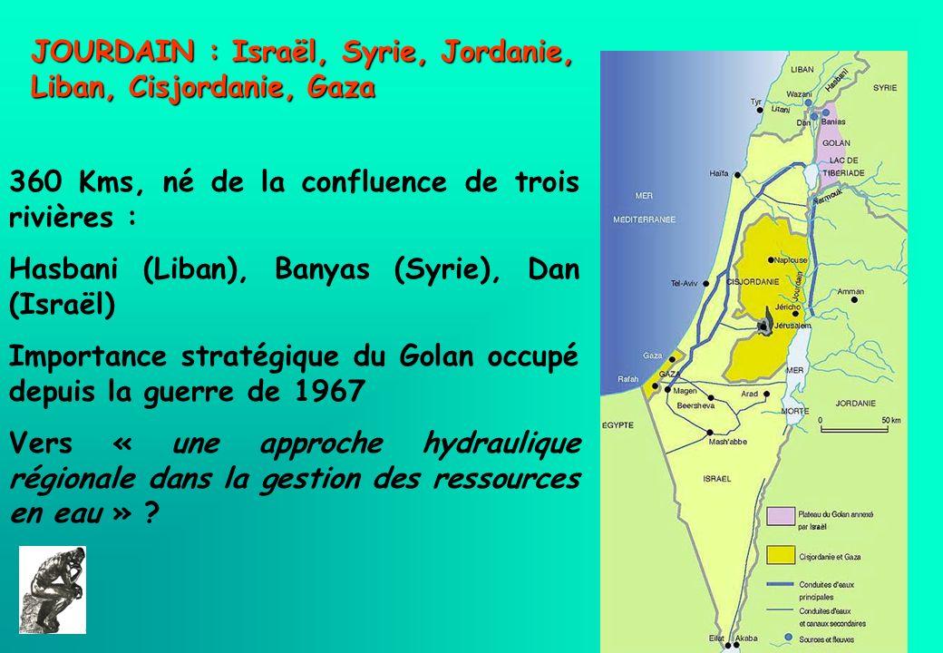 JOURDAIN : Israël, Syrie, Jordanie, Liban, Cisjordanie, Gaza 360 Kms, né de la confluence de trois rivières : Hasbani (Liban), Banyas (Syrie), Dan (Is