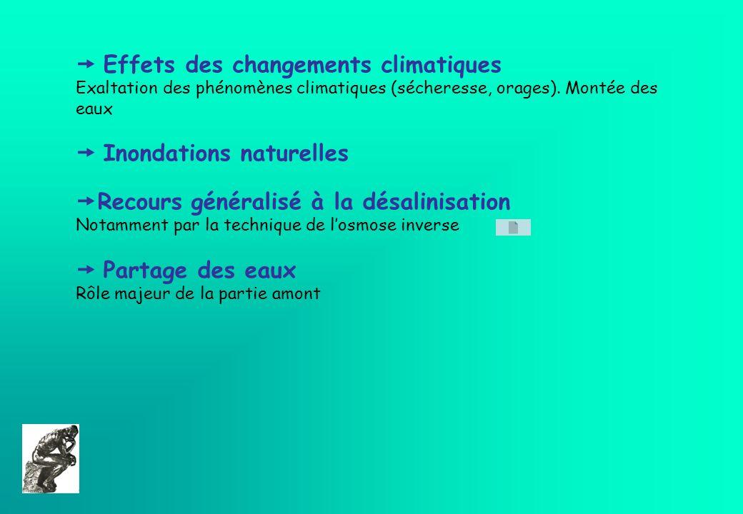 Effets des changements climatiques Exaltation des phénomènes climatiques (sécheresse, orages). Montée des eaux Inondations naturelles Recours générali