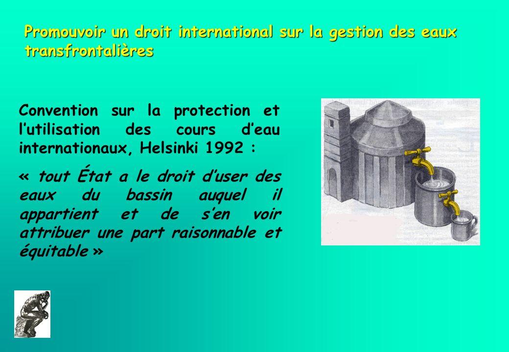 Promouvoir un droit international sur la gestion des eaux transfrontalières Convention sur la protection et lutilisation des cours deau internationaux