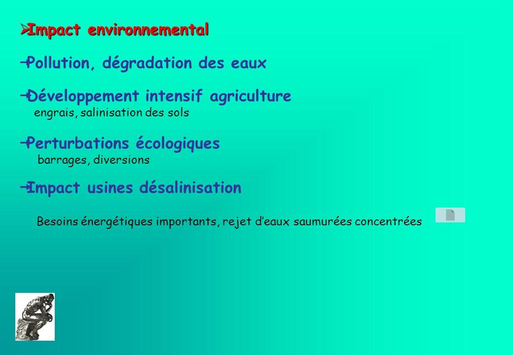 Impact environnemental Impact environnemental Pollution, dégradation des eaux Développement intensif agriculture engrais, salinisation des sols Pertur