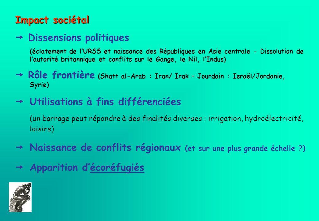 Impact sociétal Dissensions politiques (éclatement de lURSS et naissance des Républiques en Asie centrale - Dissolution de lautorité britannique et co