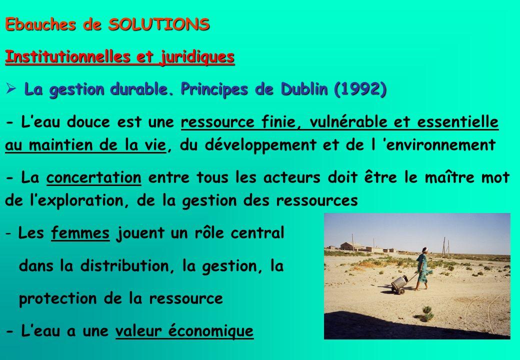 Ebauches de SOLUTIONS Institutionnelles et juridiques La gestion durable. Principes de Dublin (1992) - Leau douce est une ressource finie, vulnérable