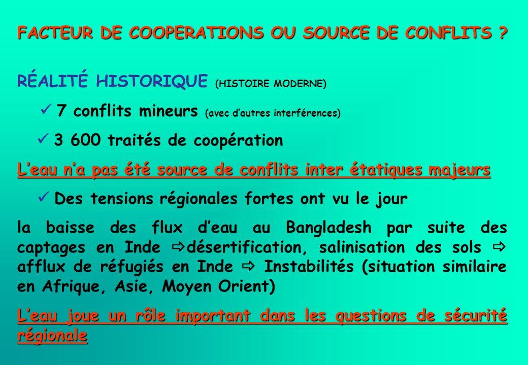 FACTEUR DE COOPERATIONS OU SOURCE DE CONFLITS ? RÉALITÉ HISTORIQUE (HISTOIRE MODERNE) 7 conflits mineurs (avec dautres interférences) 3 600 traités de