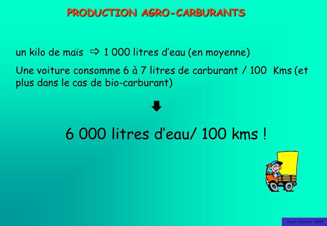 Jean-Charles ABBE PRODUCTION AGRO-CARBURANTS un kilo de maïs 1 000 litres deau (en moyenne) Une voiture consomme 6 à 7 litres de carburant / 100 Kms (