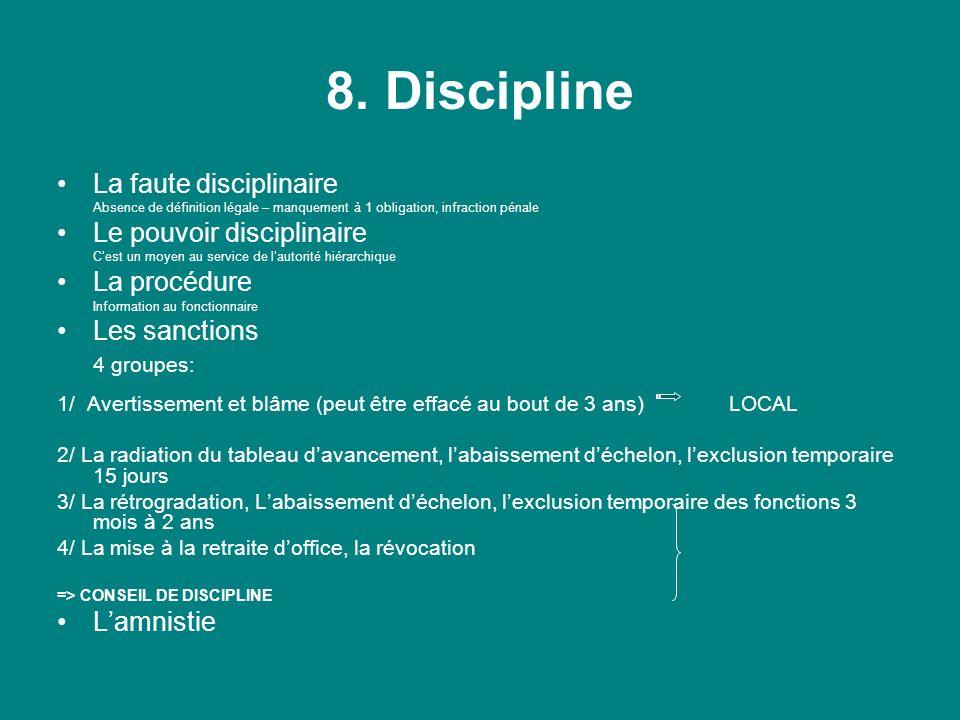 8. Discipline La faute disciplinaire Absence de définition légale – manquement à 1 obligation, infraction pénale Le pouvoir disciplinaire Cest un moye