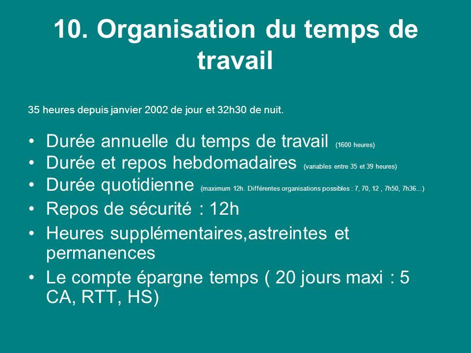 10. Organisation du temps de travail 35 heures depuis janvier 2002 de jour et 32h30 de nuit.