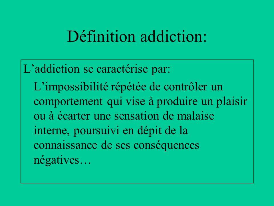 Laddiction se caractérise par: Limpossibilité répétée de contrôler un comportement qui vise à produire un plaisir ou à écarter une sensation de malais