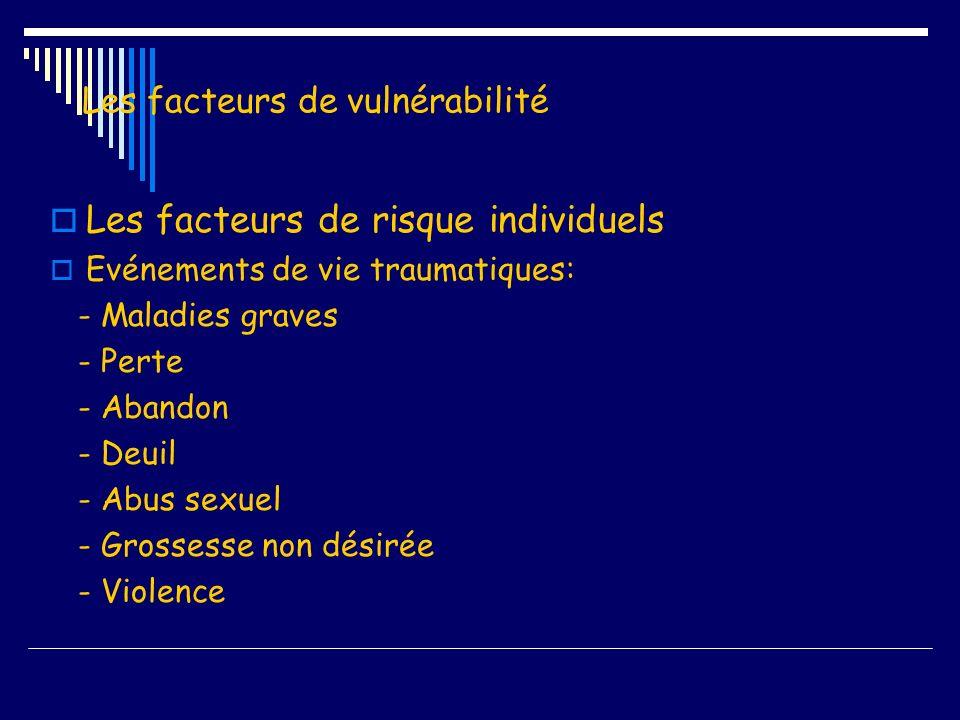 Les facteurs de vulnérabilité Les facteurs de risque individuels Evénements de vie traumatiques: - Maladies graves - Perte - Abandon - Deuil - Abus se