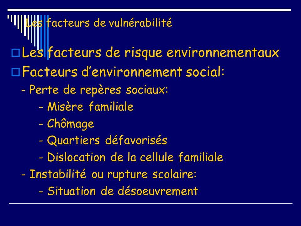 Les facteurs de vulnérabilité Les facteurs de risque environnementaux Le rôle des pairs: - Initiation à une consommation - Consommation en groupe - Valorisation par les pairs - Identification à des pairs déviants - Désocialisation - Marginalisation - Délinquance associée