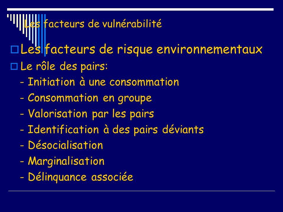 Les facteurs de vulnérabilité Les facteurs de risque environnementaux Le rôle des pairs: - Initiation à une consommation - Consommation en groupe - Va