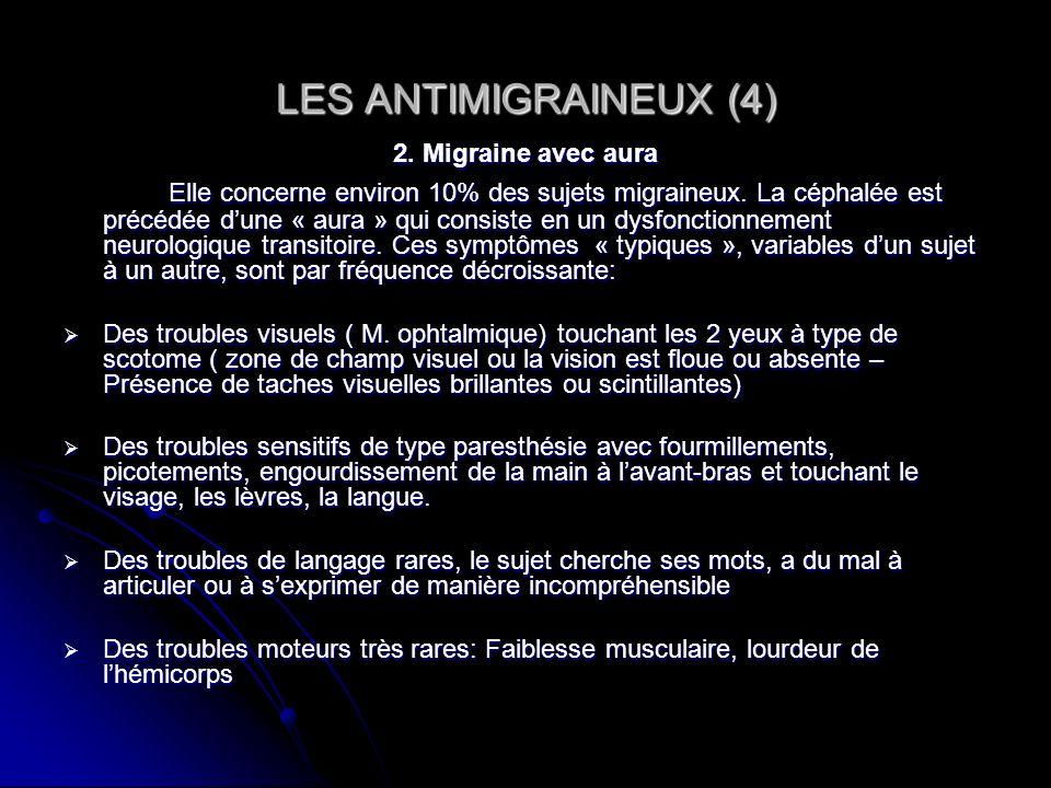 LES ANTIMIGRAINEUX (4) 2. Migraine avec aura Elle concerne environ 10% des sujets migraineux. La céphalée est précédée dune « aura » qui consiste en u