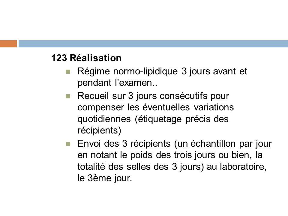 123 Réalisation Régime normo-lipidique 3 jours avant et pendant lexamen.. Recueil sur 3 jours consécutifs pour compenser les éventuelles variations qu