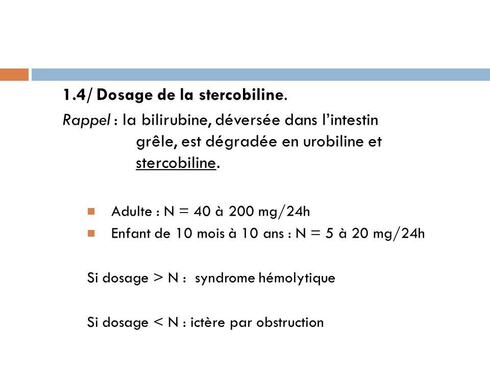 1.4/ Dosage de la stercobiline. Rappel : la bilirubine, déversée dans lintestin grêle, est dégradée en urobiline et stercobiline. Adulte : N = 40 à 20