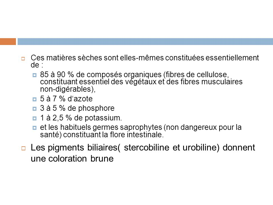 Ces matières sèches sont elles-mêmes constituées essentiellement de : 85 à 90 % de composés organiques (fibres de cellulose, constituant essentiel des