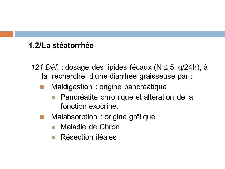 1.2/La stéatorrhée 121 Déf. : dosage des lipides fécaux (N 5 g/24h), à la recherche dune diarrhée graisseuse par : Maldigestion : origine pancréatique
