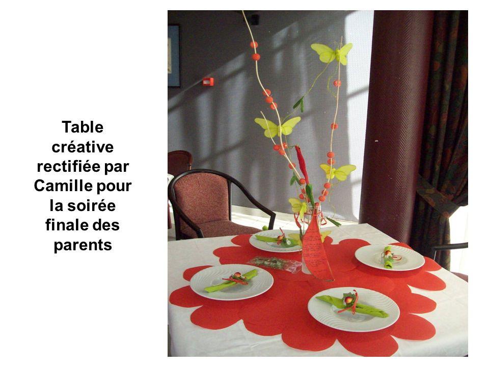 Table créative rectifiée par Camille pour la soirée finale des parents