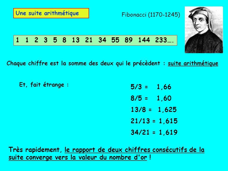 1 1 2 3 5 8 13 21 34 55 89 144 233…. Une suite arithmétique Chaque chiffre est la somme des deux qui le précèdent : suite arithmétique Très rapidement