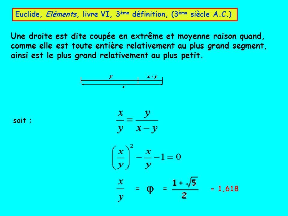 Une droite est dite coupée en extrême et moyenne raison quand, comme elle est toute entière relativement au plus grand segment, ainsi est le plus gran