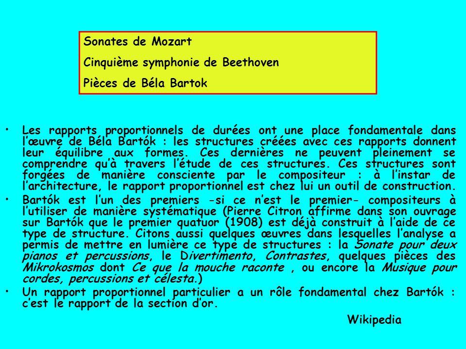 Sonates de Mozart Cinquième symphonie de Beethoven Pièces de Béla Bartok Les rapports proportionnels de durées ont une place fondamentale dans lœuvre