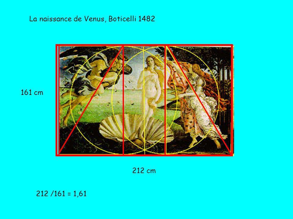 La naissance de Venus, Boticelli 1482 161 cm 212 cm 212 /161 = 1,61
