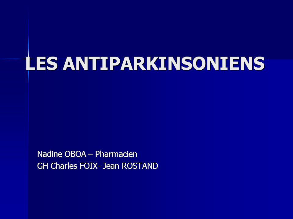 LES ANTICHOLINERGIQUES Principes actifs Posologies Effets indésirables Contre-indications Trihéxyphénidyle ARTANE® PARKINANE® LP Tropatépine LEPTICUR® LEPTICUR® Park Bipéridène AKINETON® 4 à 10 mg/j 2,5 mg puis augmentation progressive par paliers de 2,5 mg tous les 3 à 4 jours jusquà la dose optimale (10 mg/j) (10 mg/j) 4à 8 mg/j en une prise unique le matin Centraux : Troubles de la mémoire Délires avec confusion Périphériques : Sécheresse buccale Constipation Troubles de laccommodation Rétention durine Idem Trihexyphénidyle Idem Trihexyphénidyle Idem Trihexyphénidyle Glaucome à angle fermé Adénome prostatique Détérioration intellectuelle Idem Trihexyphénidyle