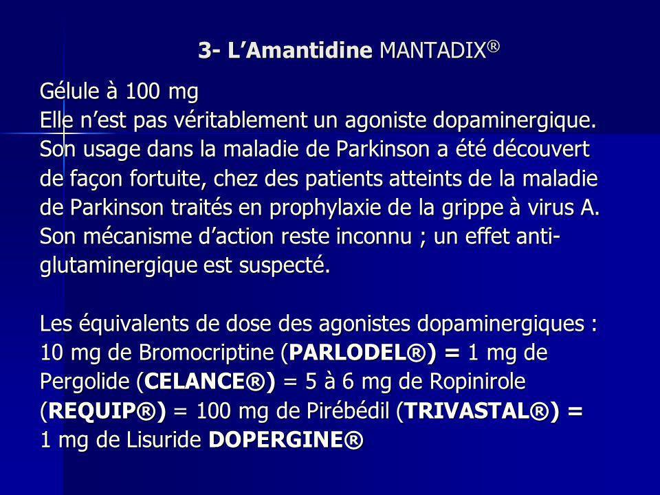 3- LAmantidine MANTADIX ® Gélule à 100 mg Elle nest pas véritablement un agoniste dopaminergique. Son usage dans la maladie de Parkinson a été découve