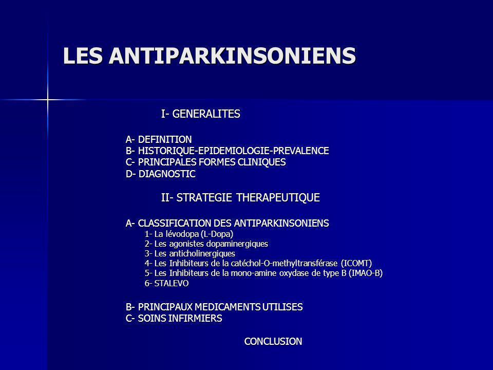 Principes actifs Posologies Effets indésirables Contre-indications Les ICOMT EntacaponeCOMTAN® Les IMAO – B La ségéline DEPRENYL® Jusquà 200mg x10/j en association à la L-dopa En monothérapie : 10 mg/j en 2 prises.