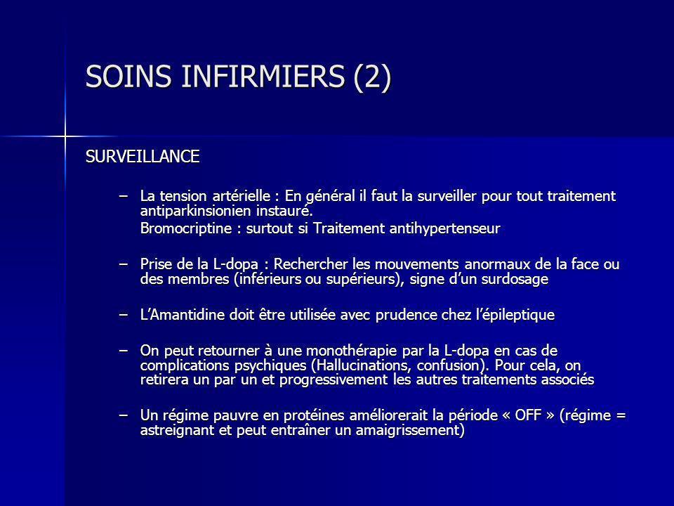 SOINS INFIRMIERS (2) SURVEILLANCE –La tension artérielle : En général il faut la surveiller pour tout traitement antiparkinsionien instauré. Bromocrip