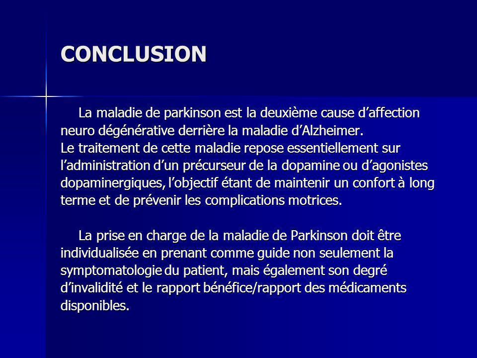 CONCLUSION La maladie de parkinson est la deuxième cause daffection neuro dégénérative derrière la maladie dAlzheimer. Le traitement de cette maladie