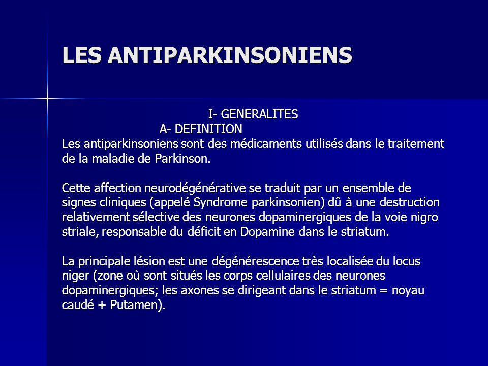 4- Les anticholinergiques Ils diminuent lhyperfonctionnement des récepteurs cholinergiques (dont lactivité, à létat physiologique, est freinée par la dopamine).