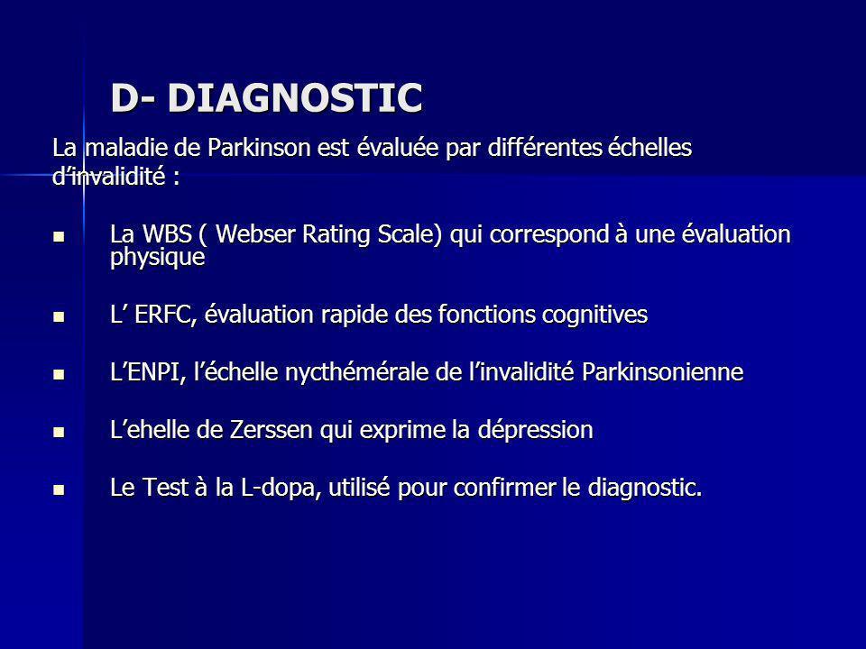 D- DIAGNOSTIC La maladie de Parkinson est évaluée par différentes échelles dinvalidité : La WBS ( Webser Rating Scale) qui correspond à une évaluation