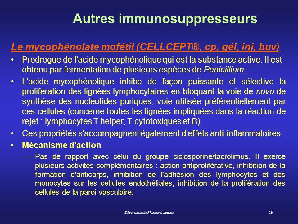 Département de Pharmacie clinique19 Autres immunosuppresseurs Le mycophénolate mofétil (CELLCEPT®, cp, gél, inj, buv) Prodrogue de l'acide mycophénoli