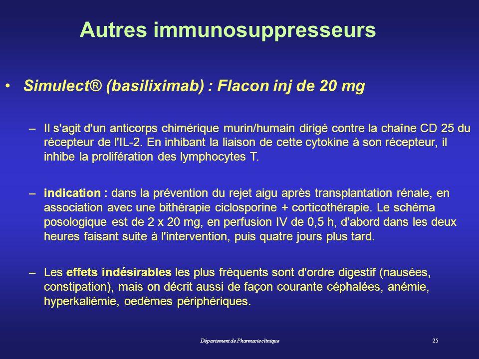 Département de Pharmacie clinique25 Autres immunosuppresseurs Simulect® (basiliximab) : Flacon inj de 20 mg –Il s'agit d'un anticorps chimérique murin